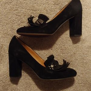 Franco Sarto Black Loafer Heels